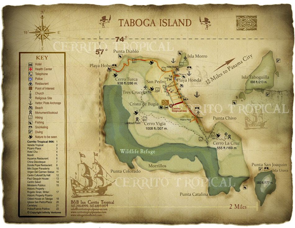 A beautiful map of Taboga Island Panama