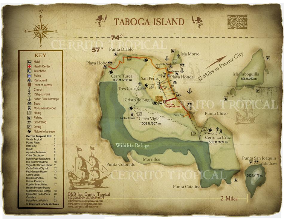 A beautiful map of Taboga Island Panama